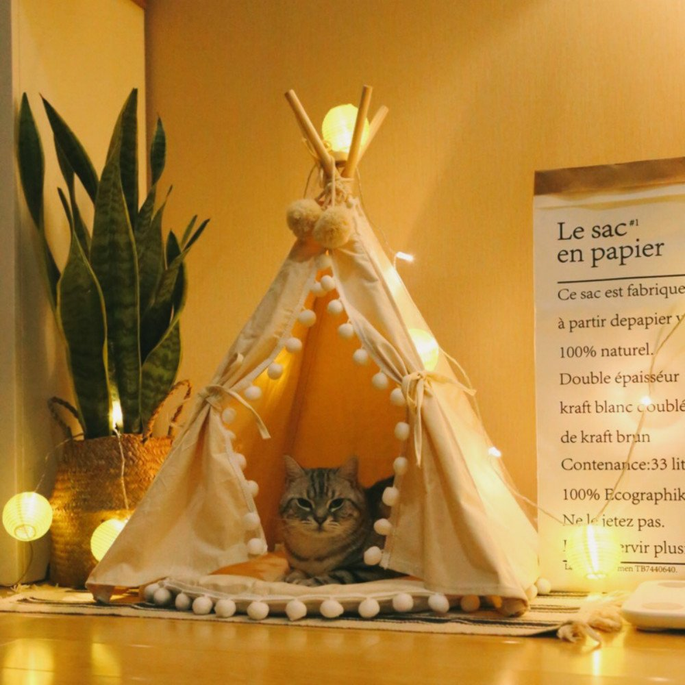 little dove Pet Teepee House Fold Away Pet Tent Furniture Cat Bed with Cushion 28 Inch Beige Pompom(with/Without Pad as…