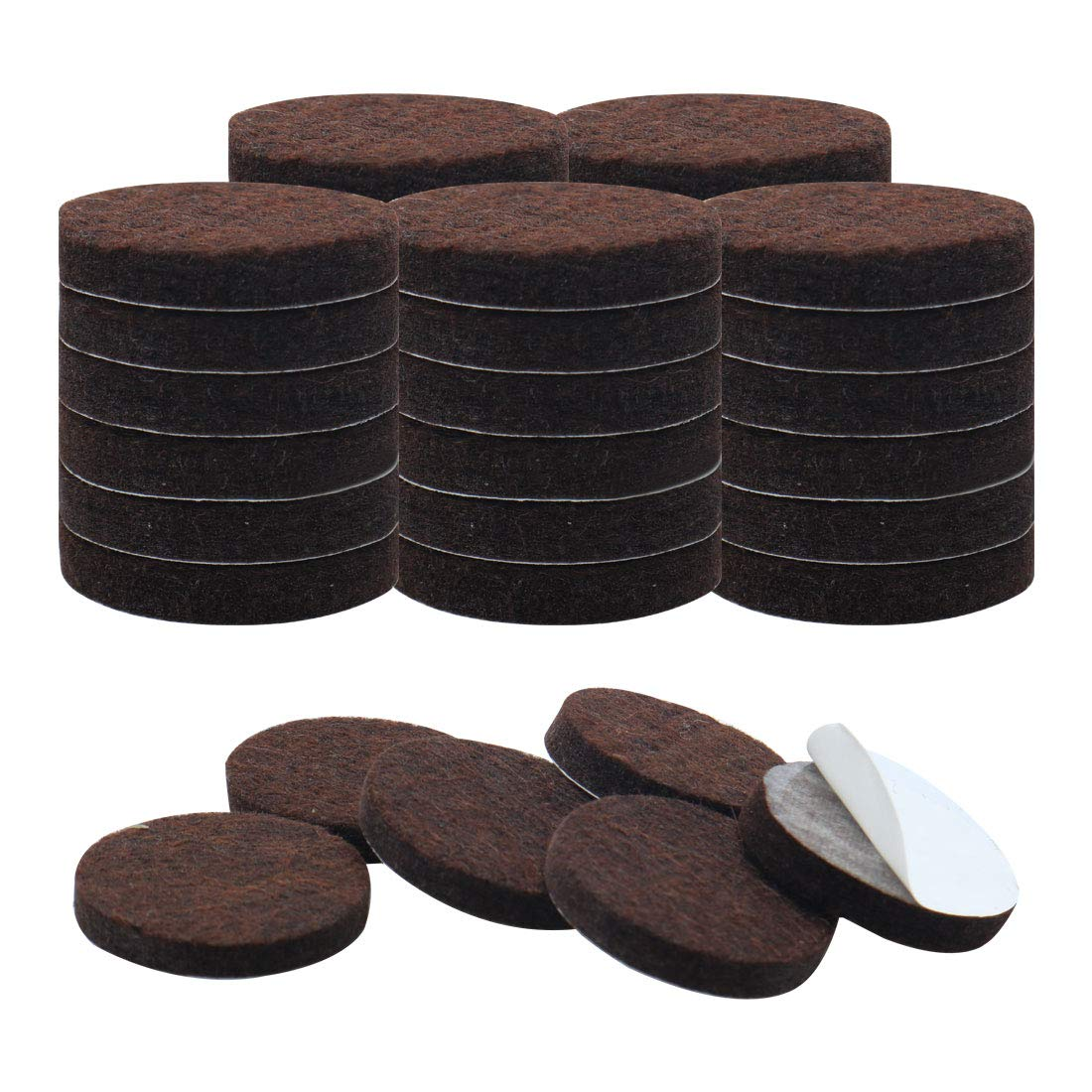 uxcell 36pcs Furniture Pads Round 1 1/4 inches Self-stick Non-slip Anti-scratch Felt Pads Floors Protector Dark Brown