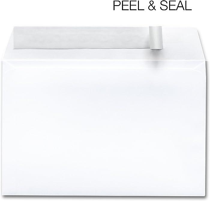 250 Envelopes Self Seal 6x9 White – Designed For Photography, Oversized, Weddings, School & Office Bulk Pack - 28 lb Open Side Booklet 6 x 9 Envelope- Box
