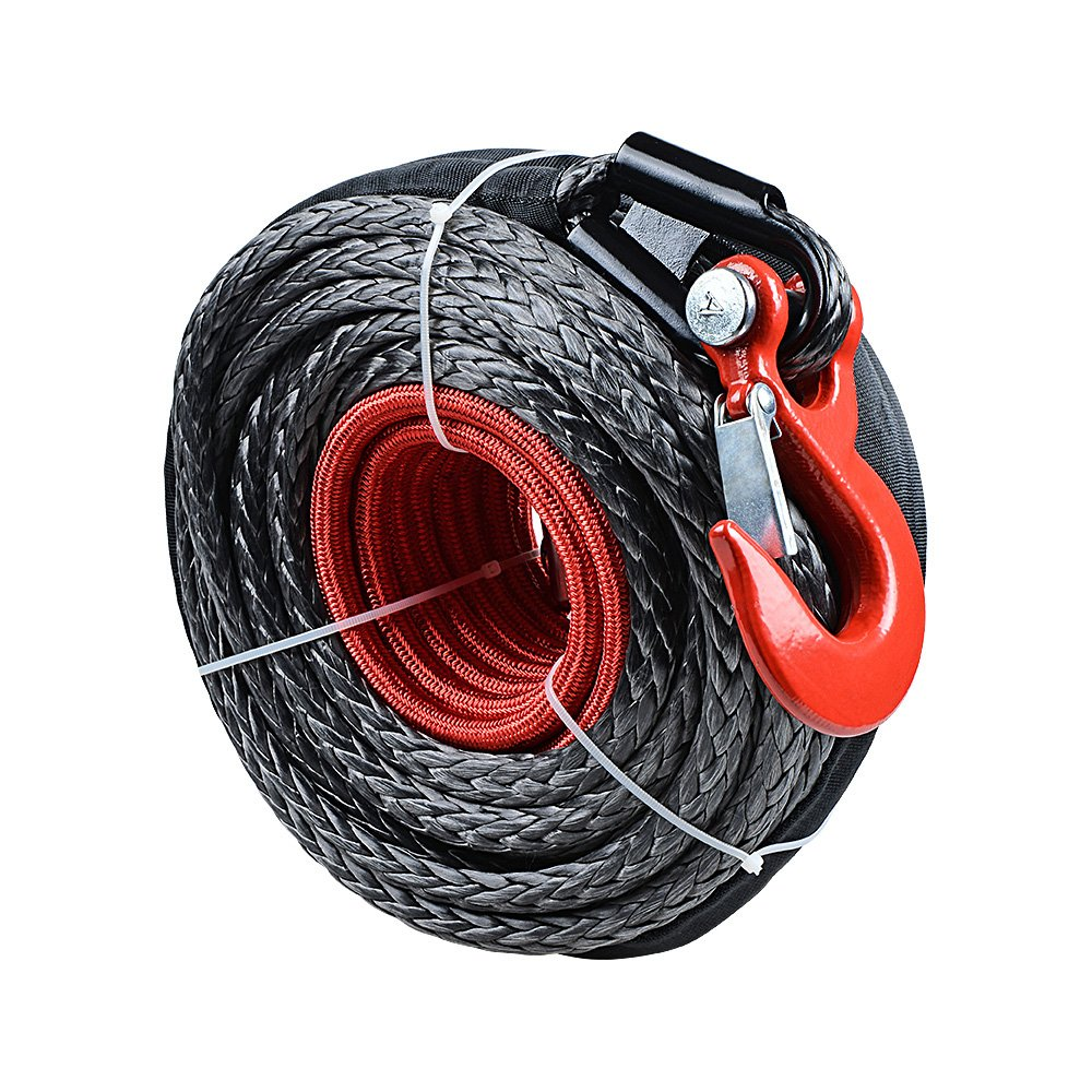 Astra Depot Black 92ft x 1//2 Synthetic Winch Rope Line Cable Protective Sleeve w//RED Hook 10 CNC Aluminum Anodized RED Hawse Fairlead Compatible with Jeep Accessories ATV UTV KFI Truck Ramsey