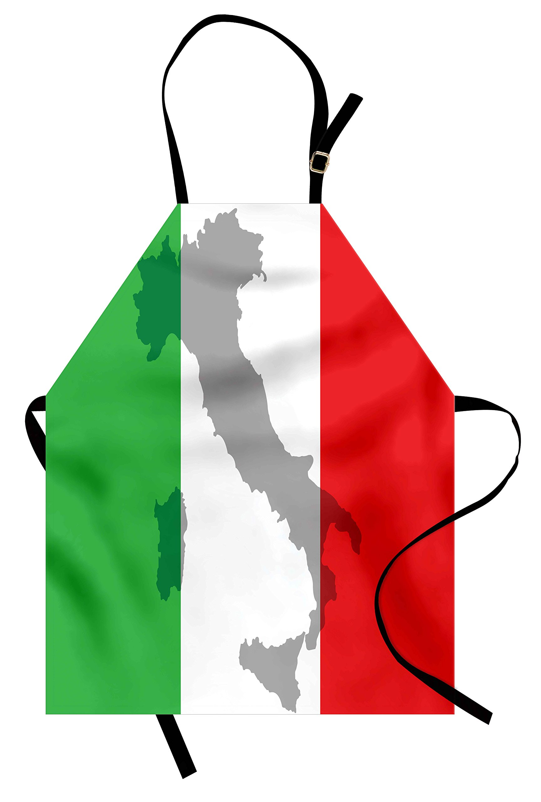 Lunarable Italian Flag Apron, Map View of Italy Land Chart National Country Europe Ancient Culture, Unisex Kitchen Bib Apron with Adjustable Neck for Cooking Baking Gardening, Grey Red Fern Green