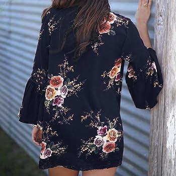 Amlaiworld_ Blusa sexy mujer Cárdigan Kimono Casual Floral Encaje Chaqueta de Verano Otoño de señoras Blusa de Abrigo para S Armada: Amazon.es: Ropa y accesorios