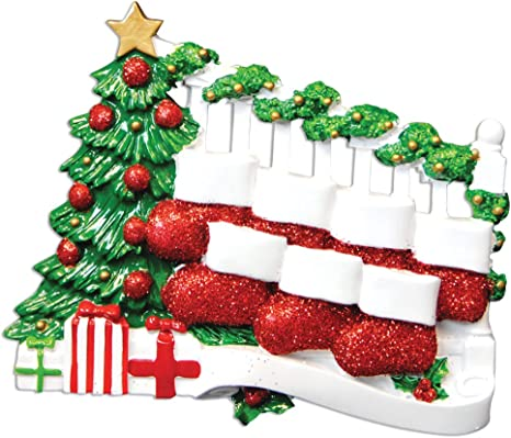 Bannister With 7 Stockings Personalized Christmas Tree Ornament Home Kitchen