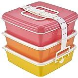 T-WORLD スタック式ピクニックケース角型3段 ピンク L 『Colors(カラーズ)』 4059