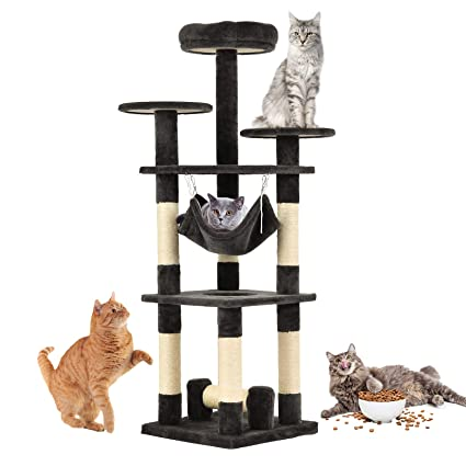 e32028098604 SUNCOO Cat Activity Tree and Towers Condo Furniture Scratching Kitty Pet  Play House with Stair (