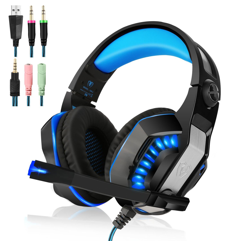 Beexcellent Casque Gaming pour PS4 3,5 mm Stéréo Gaming Headset écouteur LED Lumière Headphones avec Mic pour PS4 PC Téléphones Mobiles (Bleu)