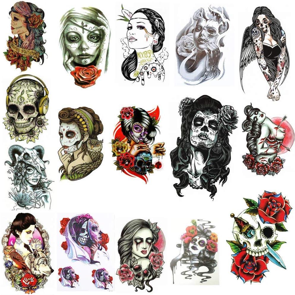 16 Tattoo Temporaire Ephemere Homme Ou Femme Santa Muerte Old School Tattoo 8 Planches Aux Modeles Halloween Jour Des Morts Decoration Tete De Mort Sugar Skull Taille Large 21cm X