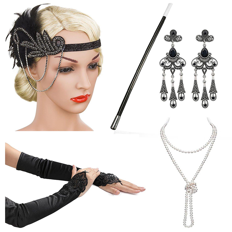 Beelittle 1920s Accessories Headband Earrings Necklace Gloves Cigarette Holder (C3)
