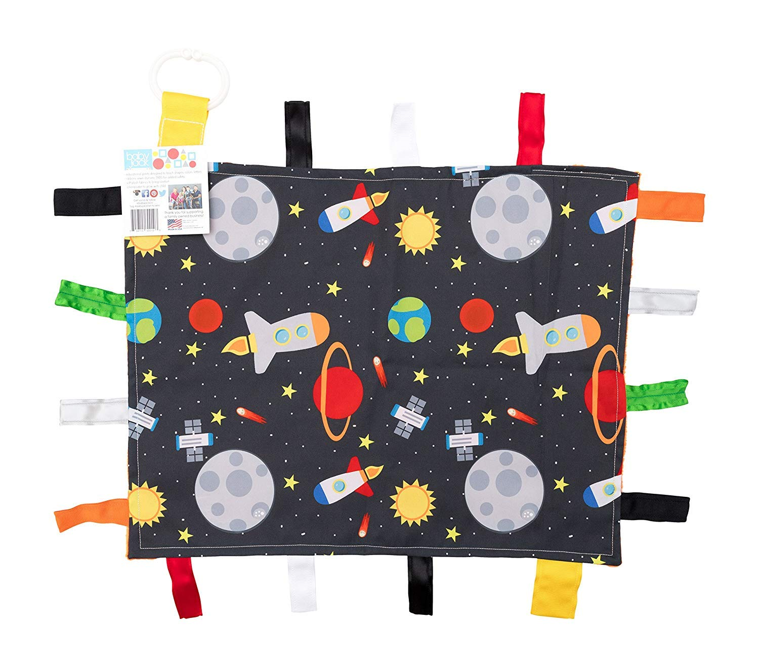 Baby Sensory, Security & Teething Closed Ribbon Tag Lovey Blanket with Minky Dot Fabric: 14X18 (Outer Space)