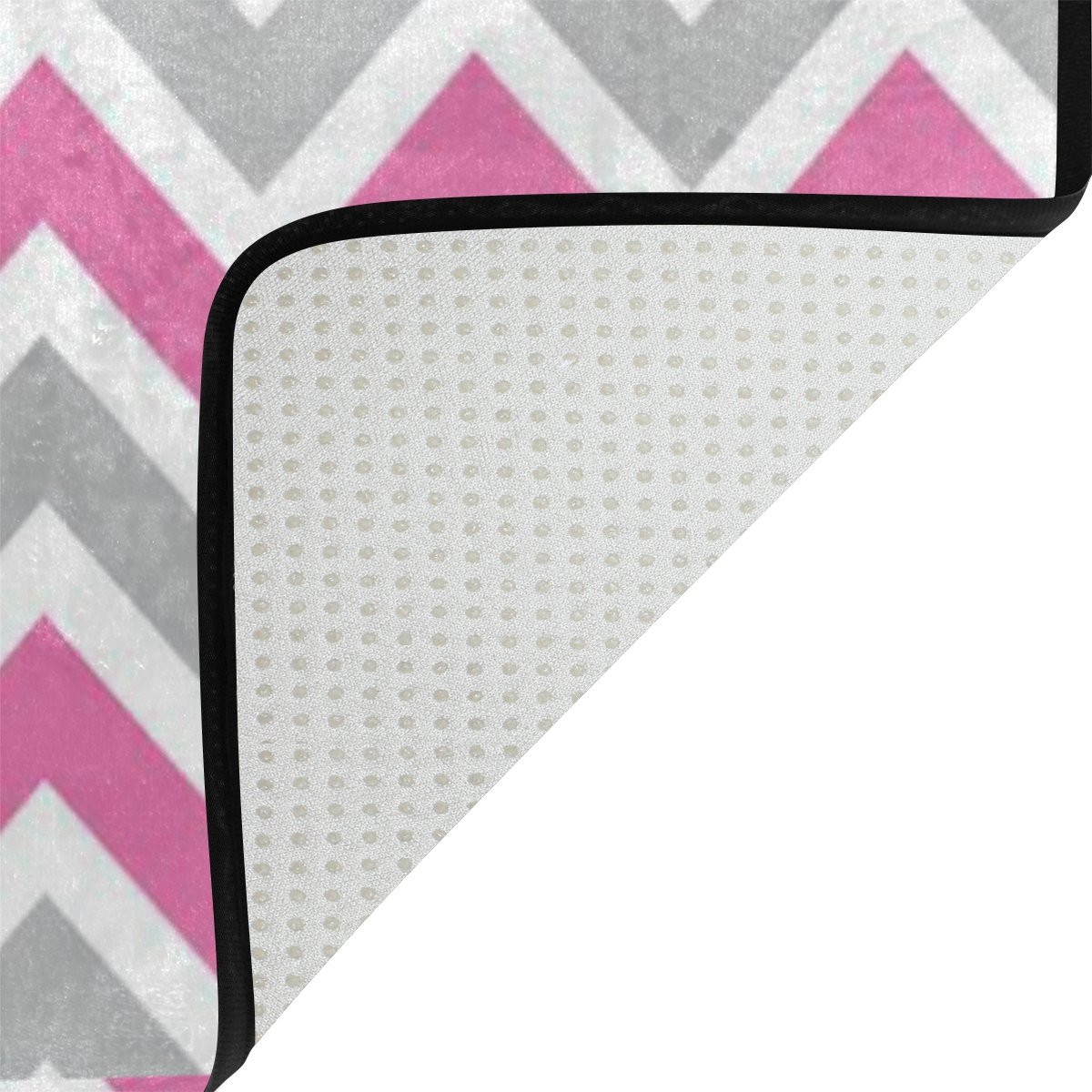 Amazon.com: lorvies Blanco Gris Rosa Chevron área alfombra ...