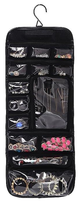 Amazoncom WODISON PU Leather Travel Hanging Jewelry Roll Up Bag