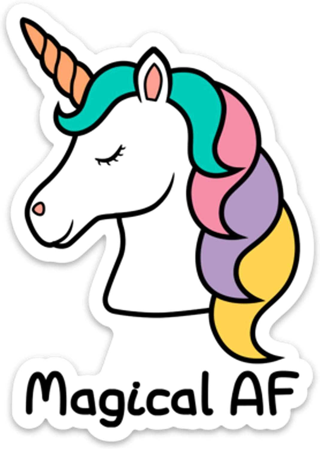 "Unicorn Sticker Decal Vinyl Magical AF 4"" x 2.8"" Funny for Laptop Cell Phone Water Bottle"