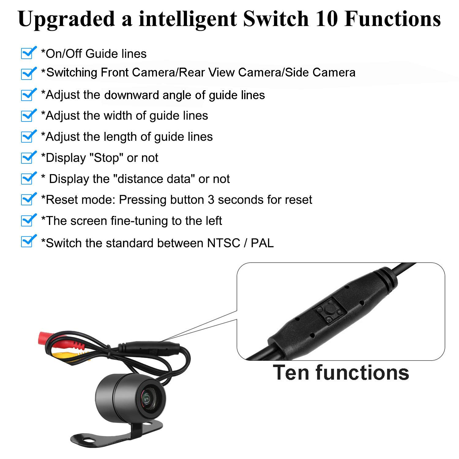 DohonesBest Backup Camera for Car//SUV//Pickup//Van//RV//Trailer 150/°Viewing Angle Rear View Camera//Front Camera//Side Camera Switchable ON//Off Guide Lines IP69 Waterproof Night Vision 4350450562