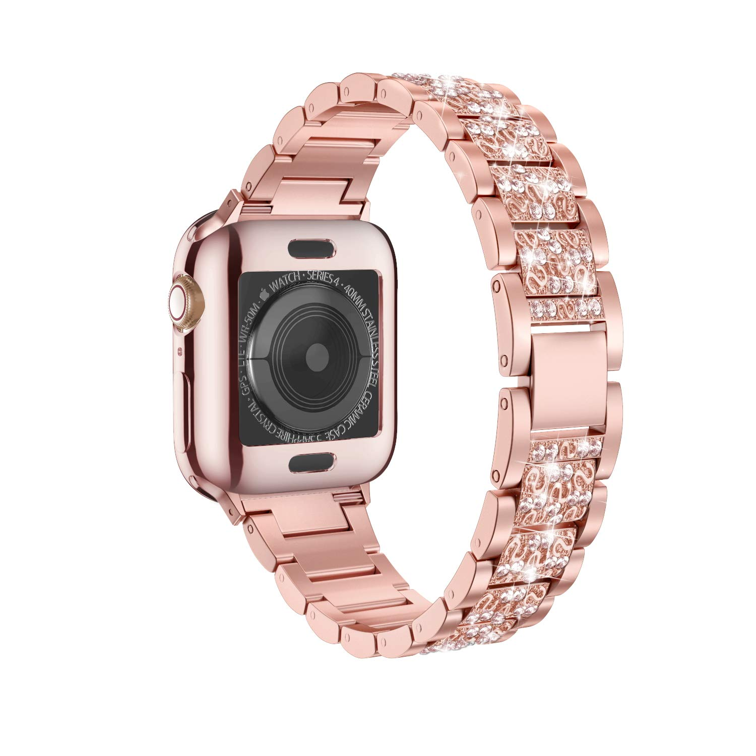 LELONG for Apple Watch Band 38mm 40mm 42mm 44mm Series 5 Series 4 3 2 1 with Case, Bling Replacement Bracelet iWatch Band, Diamond Rhinestone Stainless Steel Metal Wristband Strap by LELONG