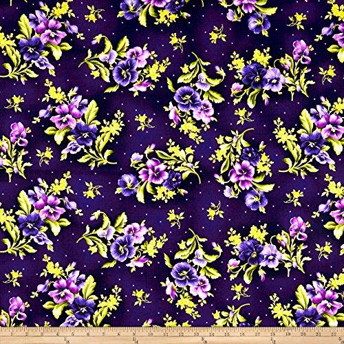 - Maywood Studio Emma's Garden Pansy Bouquets Dark Purple Fabric by The Yard