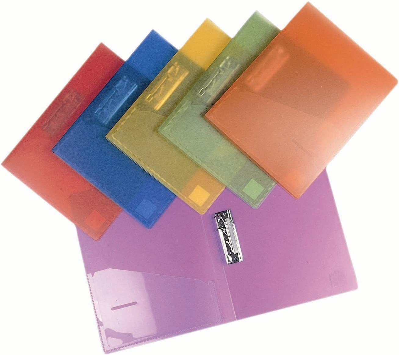 Filexec 6192, Clamp Binder, Frosted, Set of 6, 6 Assorted Colors Blueberry, Strawberry, Grape, Lime, Lemon, Tangerine (50028-6192)