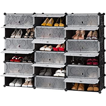 LANGRIA 18 Cube DIY Shoe Rack, Storage Drawer Unit Multi Use Modular  Organizer Plastic Cabinet With Doors, Black And White Curly Pattern