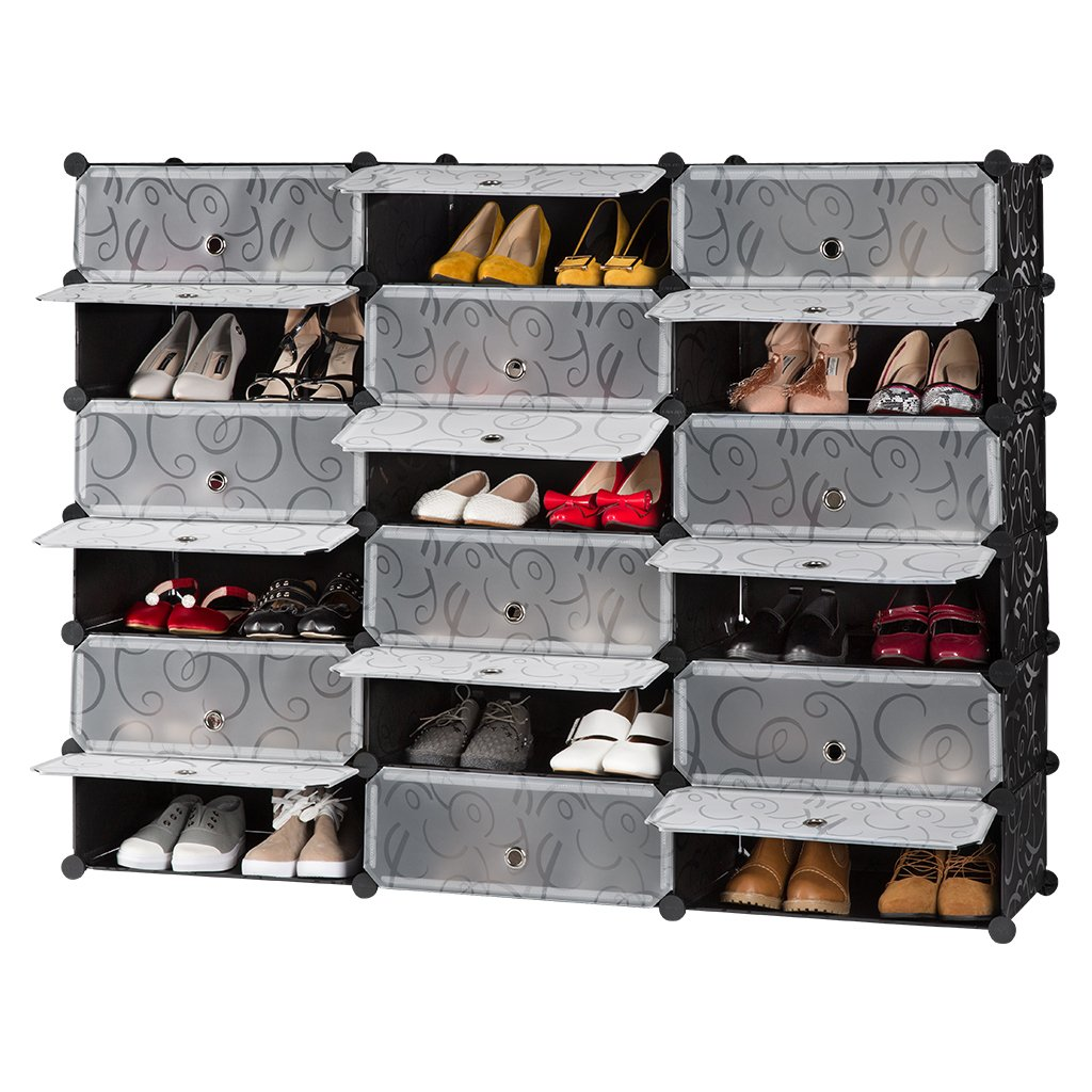 Langria 18 Cube Diy Shoe Rack Storage Drawer Unit Multi Use Modular Organizer Plastic Cabinet With Doors Black And White Curly Pattern
