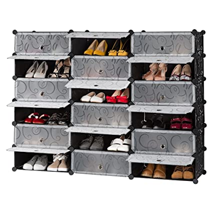 LANGRIA 18 Cube DIY Shoe Rack, Storage Drawer Unit Multi Use Modular  Organizer Plastic
