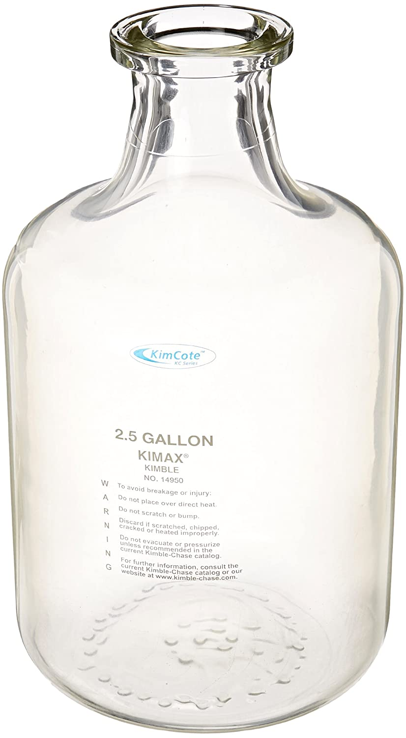 Kontes KC14950-35 Plastic Safety Coated Heavy Duty Solution Bottle 13.2L Capacity Kimble Chase Carboy Style