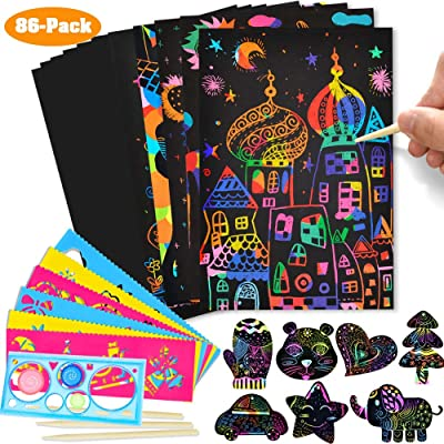 Here Fashion 86-Pack Rainbow Scratch Paper Art Kit for Kids, Craft Art Pack Magic Scratch Off Arts and Crafts with Wooden Styluses, Drawing Stencils for toddler Birthday Party Craft Gifts (M size: 32K: Toys & Games