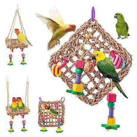 Feli546Bruce Juguete columpio para pájaros, pajita para colgar ...