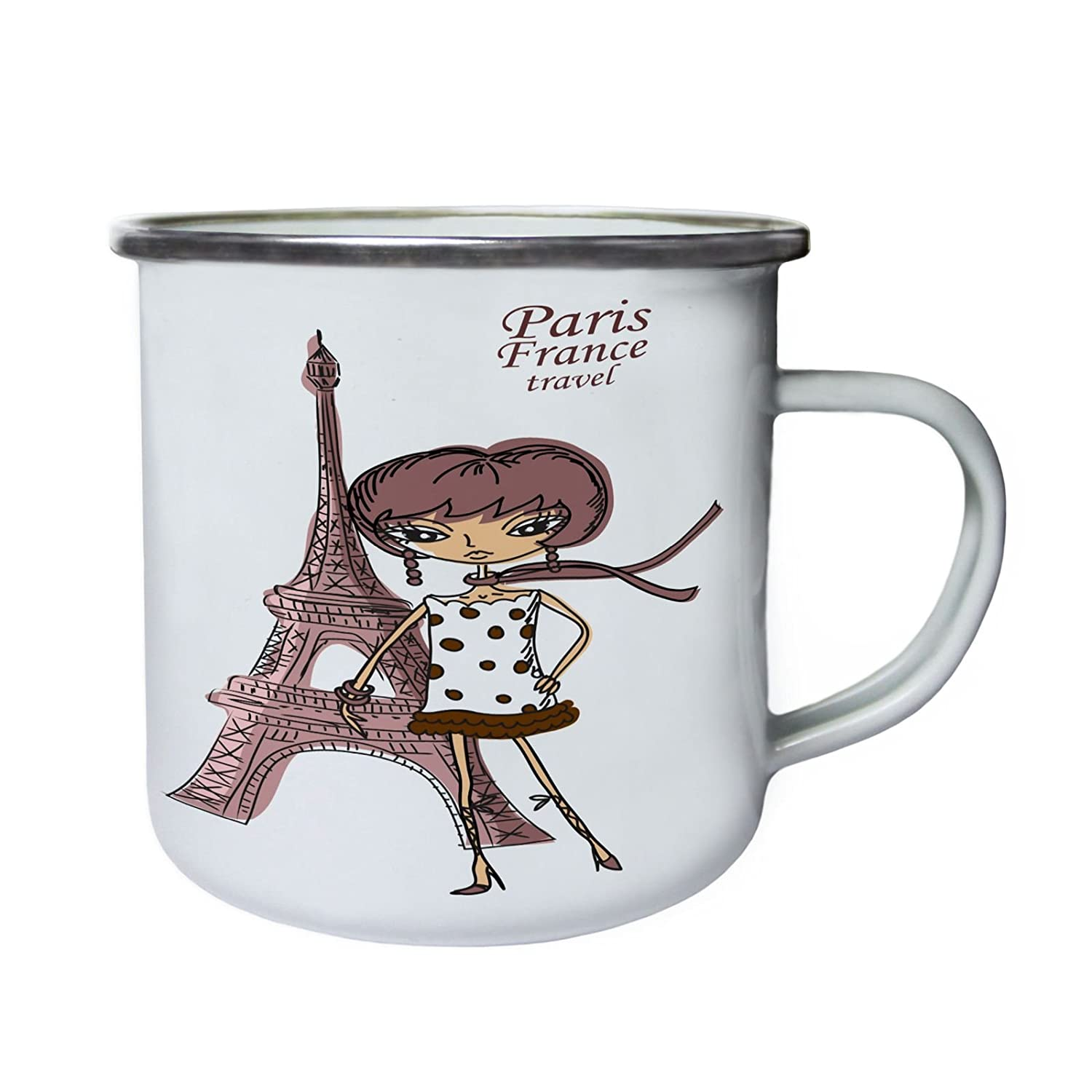 Paris France Travel Adventure Torre Eiffel Retro, lata, taza del esmalte 10oz/280ml x945e INNOGLEN