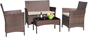 Greesum GS-4RCS8BG 4 Pieces Patio Outdoor Rattan Furniture Sets, Brown and Beige