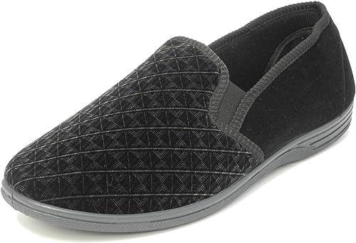 Mens Zedzzz Slip On Slippers Black Velour Comfortable  7 8 9 10 11 12 13 14