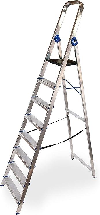 Escalera domestica de aluminio Altipesa (Aluminio, 8 PELDAÑOS ...