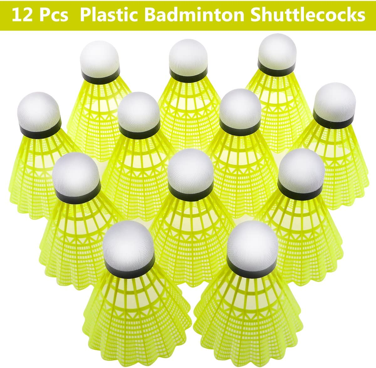 LDA GET Fresh 12Pcs White Badminton Plastic Shuttlecocks Indoor Outdoor Gym Sports Accessories