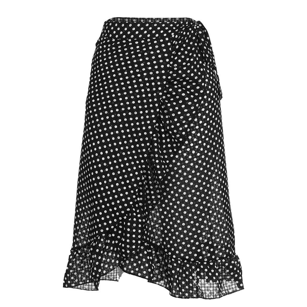 4d89ff21f3 Amazon.com: Landscap Womens Ladies Skirts High Fashion Tie Bow Ruffle Hem  Wave Frill Wrap Midi Beach Skirt: Clothing
