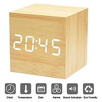 Xagoo Sveglia Digitale Legno Cube LED Digitale Orologio da Tavolo, Sveglia Digitale da Comodino con Orario Tempo Data e Temperatura Display, Sensore del Suono per l'attivazione