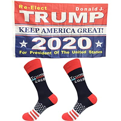2 Pairs 2020 Donald Trump President KEEP AMERICA GREAT US Flag Cotton Socks Gift