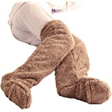 XMONY 改良 極暖 足が出せるロングカバー 防寒 冷え性 グッズ ソックス 足元 ルームブーツ ロング 防寒ルームブーツ もこもこ 冬 室内 ブーツ シューズカバー 2重フリース生地 室内履き 軽量 洗える 22~24.5cmまで