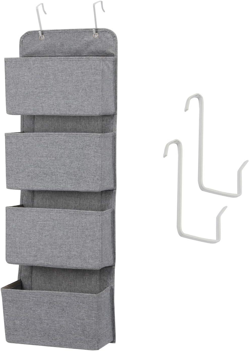 MaidMAX Organizador de Puerta, Organizador para Colgar en la Puerta con 4 Bolsillos, Organizador Vertical del Tipo Bolsillo para Almacenaje de Juguetes, Pañales, Toallas, Gris