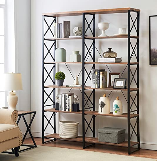 O K FURNITURE 80.7 Double Wide 6-Shelf Bookcase, Industrial Large Open Metal Bookcases Furniture, Etagere Bookshelf for Home Office, Vintage Brown
