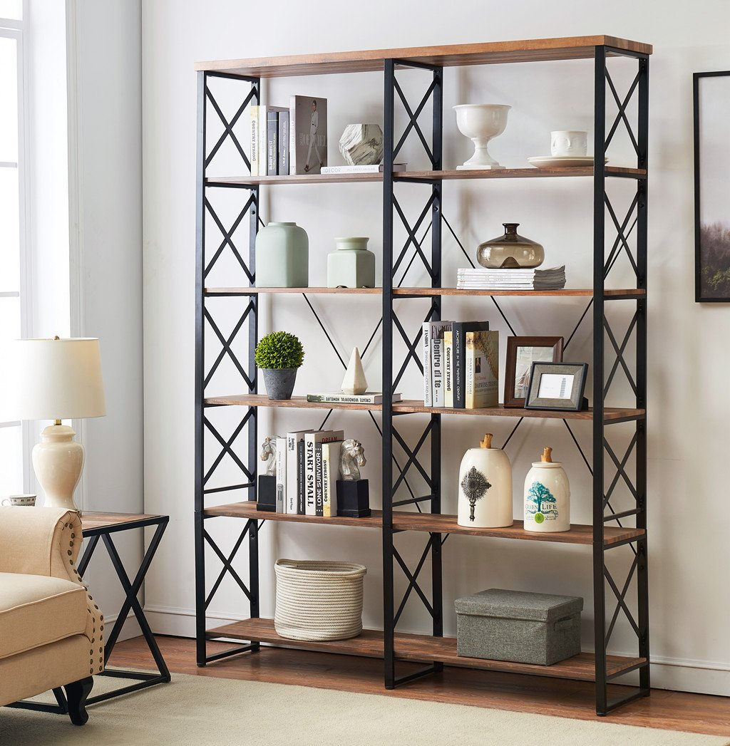 O&K Furniture 80.7'' Double Wide 6-Shelf Bookcase, Industrial Large Open Metal Bookcases Furniture, Etagere Bookshelf for Home & Office, Vintage Brown