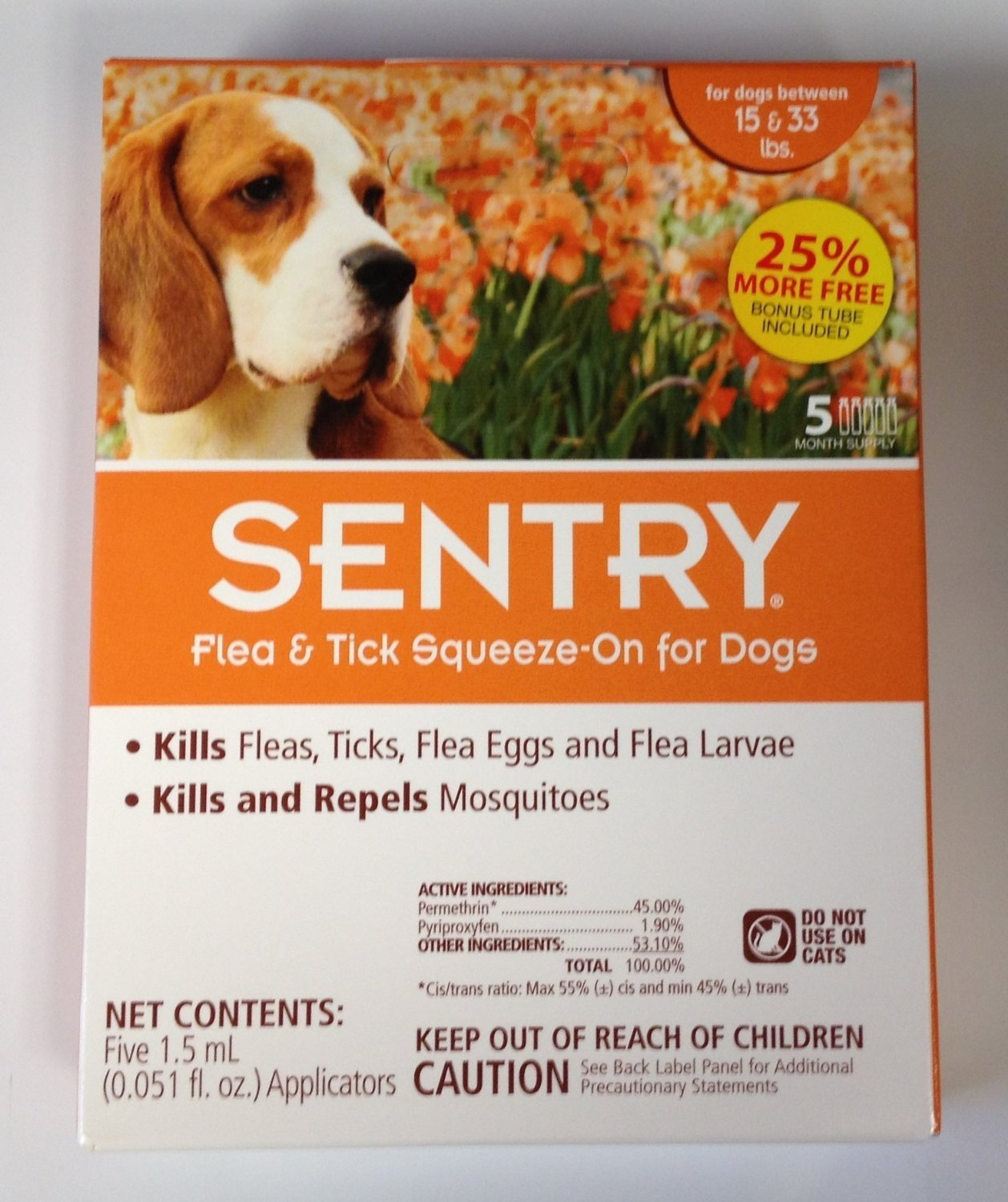 Sentry Sergeant's Pet Care Product 5 Count Flea and Tick Squeeze-On Dog Drop.