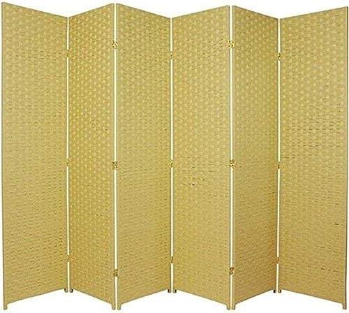 Oriental Furniture 6 ft. Tall Woven Fiber Room Divider – 6 Panel – Dark Beige
