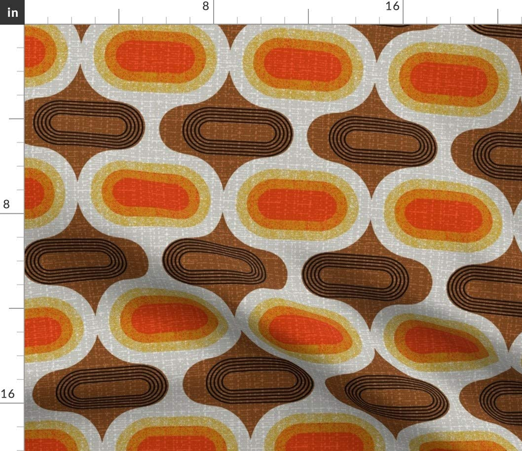 Spoonflower Fabric - Ogee 70S Retro Orange Mid Century Orbs Scandi Printed on Linen Cotton Canvas Fabric by The Yard - Sewing Home Decor Table Linens Apparel Bags
