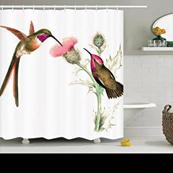 Family Unique Decorative Custom Xmas Shower Curtains Long Tailed Hummingbird  Birds Flowers Waterproof Polyester Fabric Home