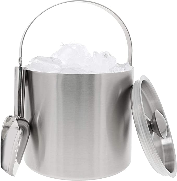 Amazon.com: Acero inoxidable cubeta de hielo con hielo Scoop ...