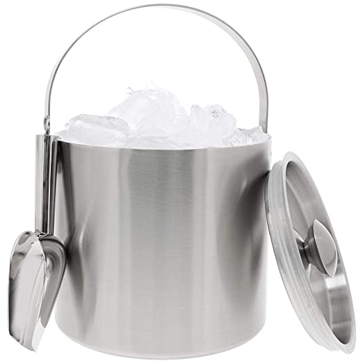 Acero inoxidable doble pared CUBITERA con pala – Barware para utensilios para fiestas eventos reuniones, 6.6h X 7,5 W inches