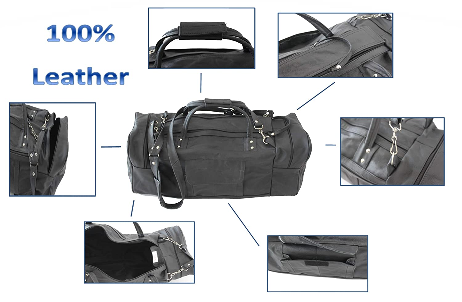 Leather Duffel Bag Black Overnight Carry-on Outdoor Travel