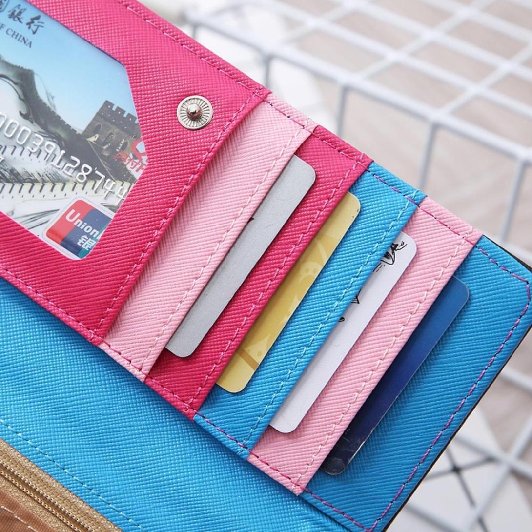 Malloom® Bloqueo de Color Dama Mujeres Chica Largo Monedero Embrague Billetera Bolsa Postal Titular de la Tarjeta (Negro (Black))