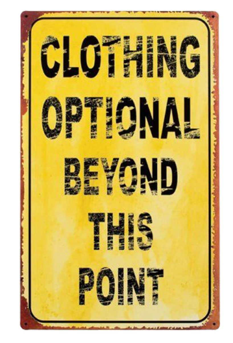 Amazon.com: Ohio Wholesale, Inc. Clothing Optional Tin Sign: Home ...