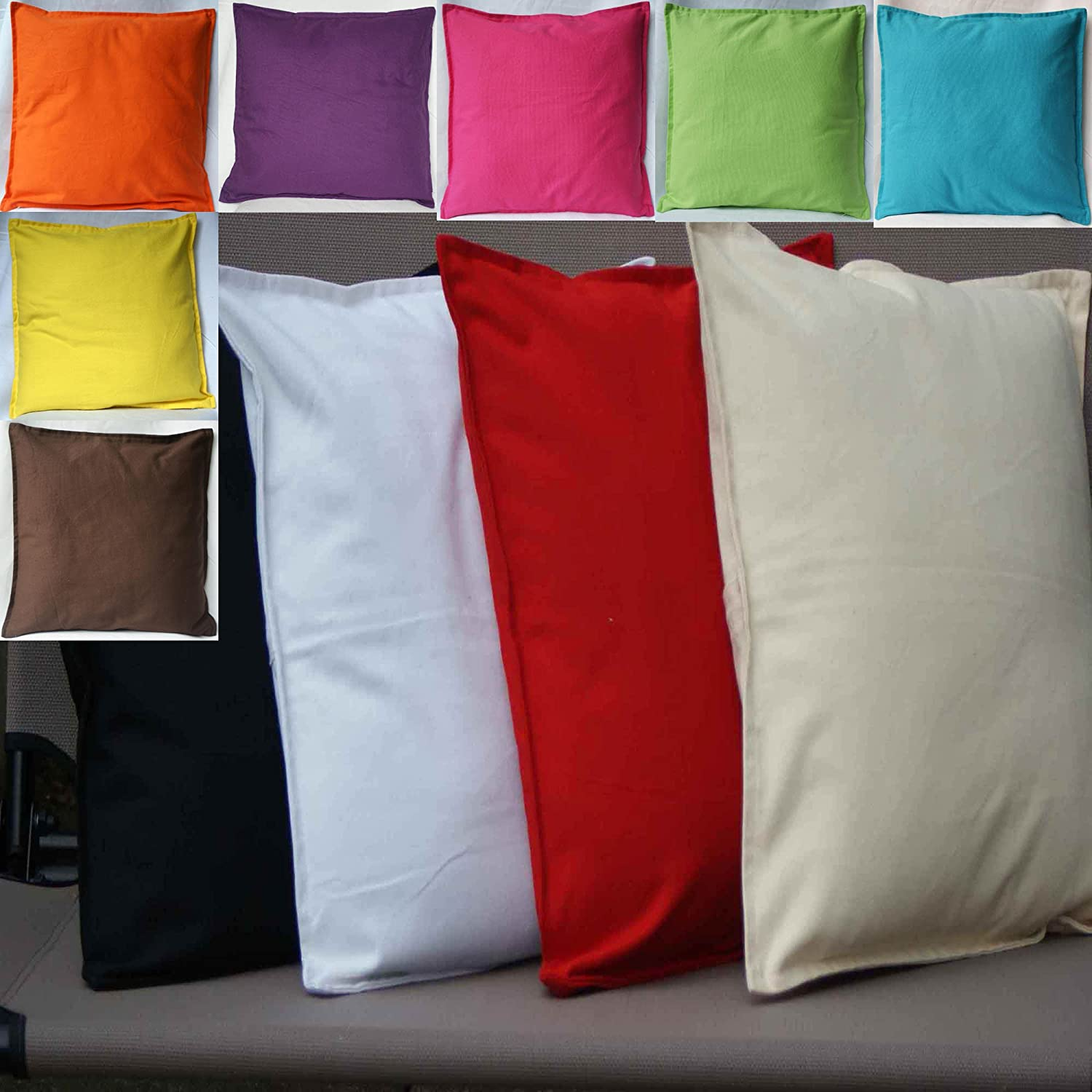 cushion Covers Plain 100% Cotton black 40x40cm Amazon