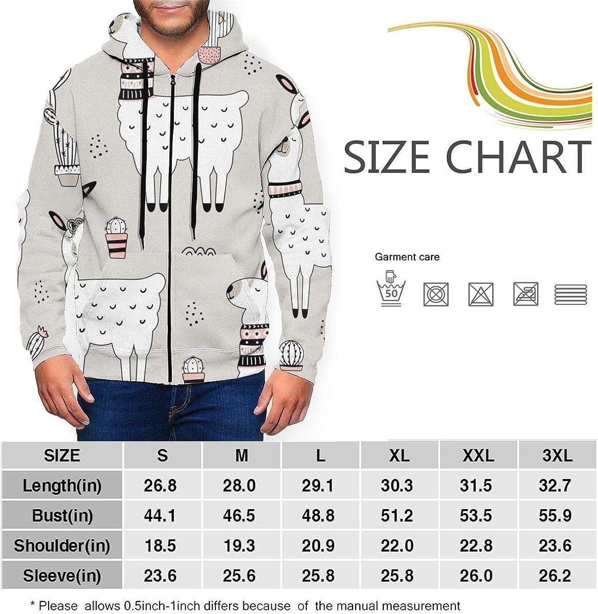 KAMQUERENCE Mens Zipper Hoodies Sweatshirt Long Sleeve Coat with Pockets Seamless Pattern with Llama