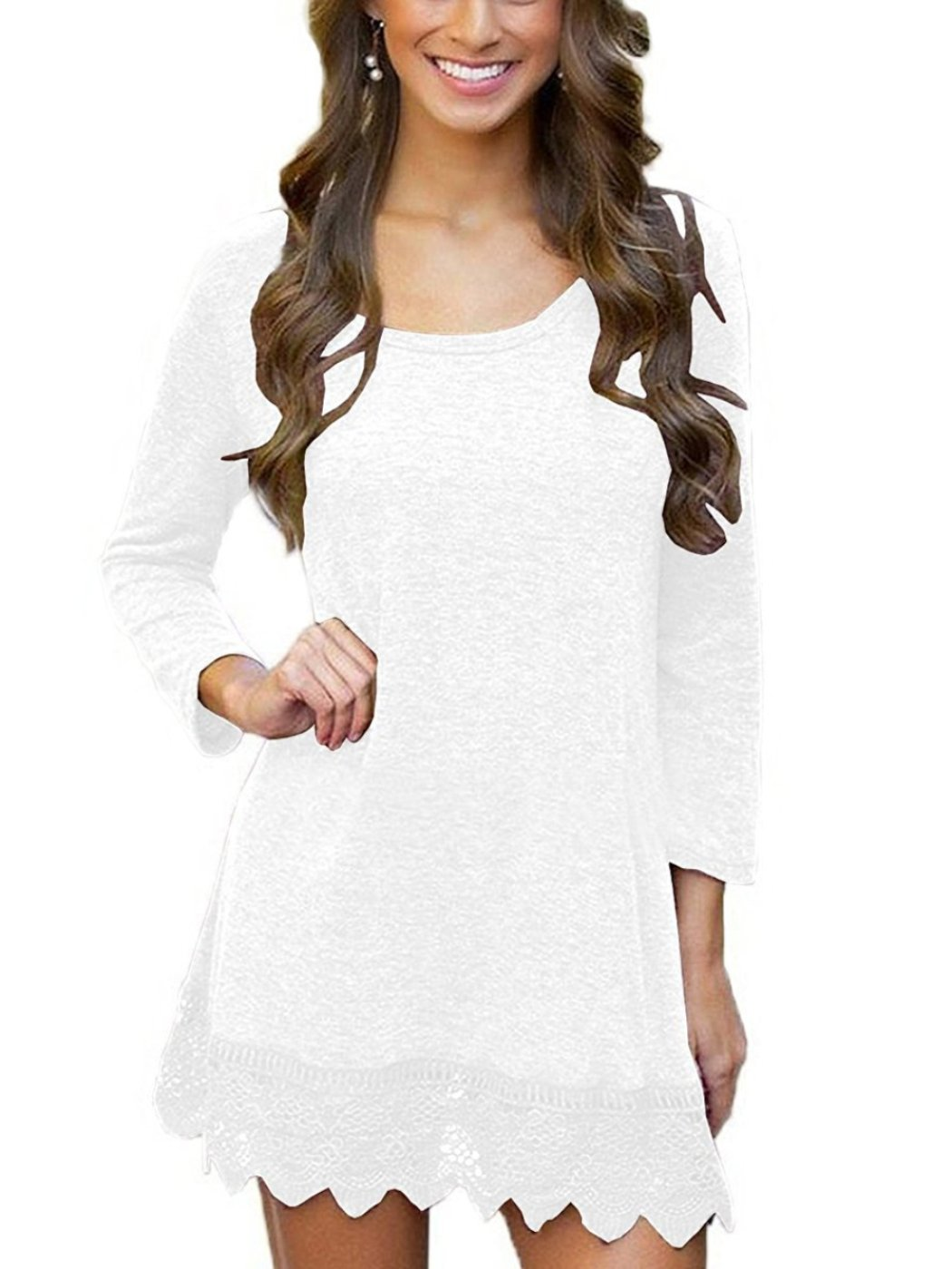 MiYang Women's Long Sleeve A-line Lace Stitching Trim Casual Dress L White